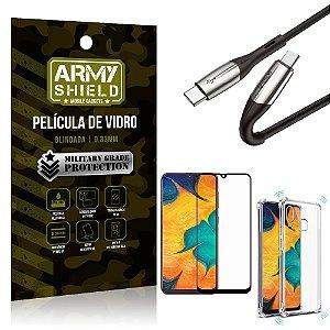 Cabo Usb Tipo C para Usb-C HS-167 Samsung A20 + Capinha + Película 3D - Armyshield
