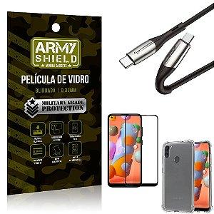 Cabo Usb Tipo C para Usb-C HS-167 Samsung A11 + Capinha + Película 3D - Armyshield