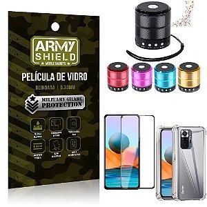 Kit Redmi Note 10 Pro Mini Som Bluetooth + Capa Anti Impacto + Película Vidro 3D - Armyshield