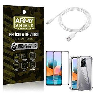 Kit Redmi Note 10 Pro Cabo USB Tipo C 2m + Capa Anti Impacto + Película Vidro 3D - Armyshield