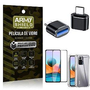 Kit Redmi Note 10 Pro Adaptador OTG Tipo C para USB + Capa Anti Impacto + Película 3D - Armyshield