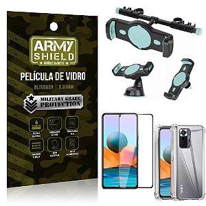 Kit Redmi Note 10 Pro Suporte Veicular 3 em 1 + Película 3D + Capa Anti Impacto - Armyshield