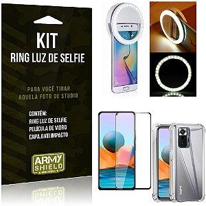 Kit Redmi Note 10 Pro Flash Ring + Capa Anti Impacto + Película de Vidro 3D - Armyshield