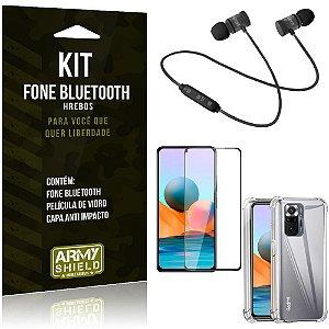 Kit Redmi Note 10 Pro Fone Bluetooth KD901 + Capa Anti Impacto + Película Vidro 3D - Armyshield