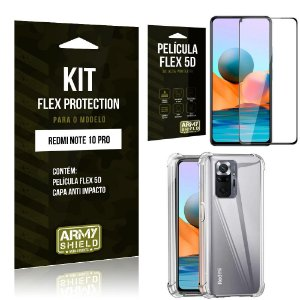Kit Redmi Note 10 Pro Flex Protection com Película Flex + Capa Anti Impacto - Armyshield