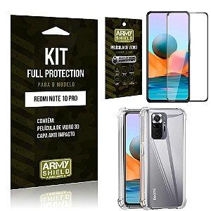 Kit Redmi Note 10 Pro Full Protection com Película de Vidro 3D + Capa Anti Impacto - Armyshield