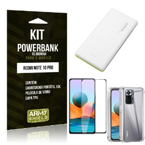 Kit Redmi Note 10 Pro Carregador Portátil 10K Tipo C +Capa Anti Impacto +Película 3D - Armyshield