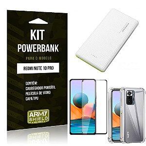 Kit Redmi Note 10 Pro Carregador Portátil 5K Tipo C +Capa Anti Impacto +Película Vidro 3D-Armyshield