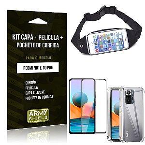 Kit Redmi Note 10 Pro Pochete + Capinha Anti Impacto + Película de Vidro 3D - Armyshield