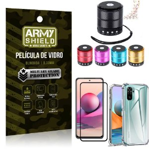 Kit Redmi Note 10S Mini Som Bluetooth + Capa Anti Impacto + Película Vidro 3D - Armyshield