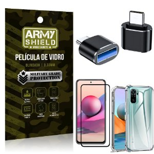 Kit Redmi Note 10S Adaptador OTG Tipo C para USB + Capa Anti Impacto + Película 3D - Armyshield