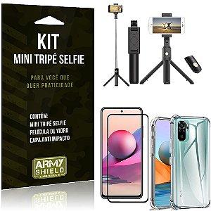 Kit Redmi Note 10S Mini Tripé Selfie Bluetooth para + Capa Anti Impacto + Película 3D - Armyshield