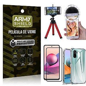 Kit Redmi Note 10S Tripé Flex + Flash Ring + Capa Anti Impacto + Película 3D - Armyshield