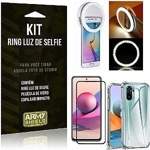 Kit Redmi Note 10S Flash Ring + Capa Anti Impacto + Película de Vidro 3D - Armyshield