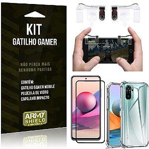 Kit Redmi Note 10S Gatilho Gamer + Capa Anti Impacto + Película Vidro 3D - Armyshield