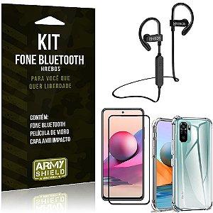 Kit Redmi Note 10S Fone Bluetooth HS188 + Película 3D + Capa Anti Impacto - Armyshield