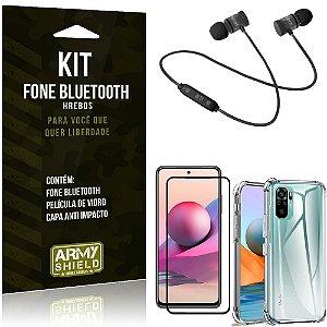 Kit Redmi Note 10S Fone Bluetooth KD901 + Capa Anti Impacto + Película Vidro 3D - Armyshield