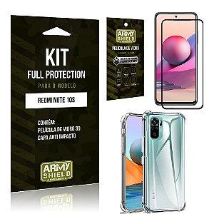 Kit Redmi Note 10S Full Protection com Película de Vidro 3D + Capa Anti Impacto - Armyshield