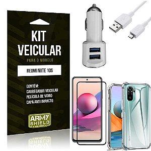 Kit Redmi Note 10S Carregador Veicular Tipo C + Capa Anti Impacto + Película Vidro 3D - Armyshield