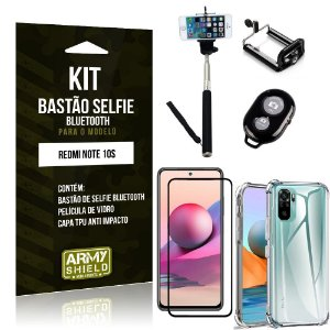 Kit Redmi Note 10S Bastão Selfie Bluetooth + Capinha Anti Impacto + Película Vidro 3D - Armyshield