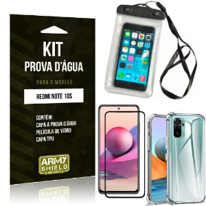 Kit Redmi Note 10S Capinha Prova D'água + Capa Anti Impacto + Película 3D - Armyshield