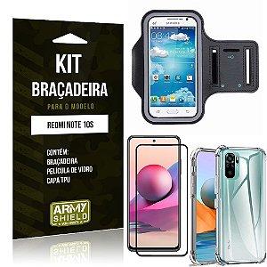 Kit Redmi Note 10S Braçadeira + Capinha Anti Impacto + Película de Vidro 3D - Armyshield