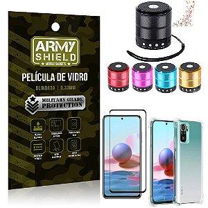 Kit Redmi Note 10 Mini Som Bluetooth + Capa Anti Impacto + Película Vidro 3D - Armyshield
