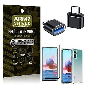 Kit Redmi Note 10 Adaptador OTG Tipo C para USB + Capa Anti Impacto + Película 3D - Armyshield