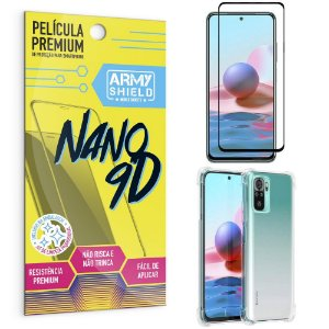 Kit Redmi Note 10 Película Premium Nano 9D + Capa Anti Impacto - Armyshield