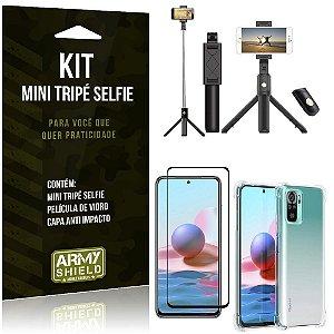 Kit Redmi Note 10 Mini Tripé Selfie Bluetooth para + Capa Anti Impacto + Película 3D - Armyshield