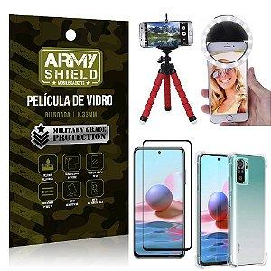 Kit Redmi Note 10 Tripé Flex + Flash Ring + Capa Anti Impacto + Película 3D - Armyshield