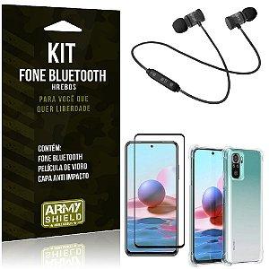 Kit Redmi Note 10 Fone Bluetooth KD901 + Capa Anti Impacto + Película Vidro 3D - Armyshield