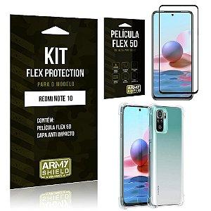 Kit Redmi Note 10 Flex Protection com Película Flex + Capa Anti Impacto - Armyshield