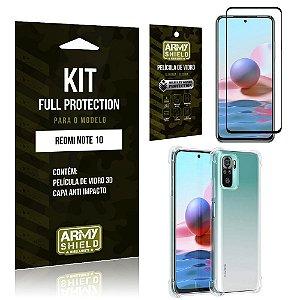 Kit Redmi Note 10 Full Protection com Película de Vidro 3D + Capa Anti Impacto - Armyshield