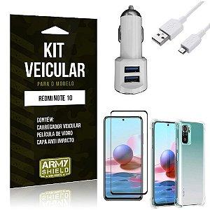 Kit Redmi Note 10 Carregador Veicular Tipo C + Capa Anti Impacto + Película Vidro 3D - Armyshield