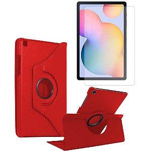 Kit Capa Giratória Vermelha + Película de Vidro Galaxy Tab S6 Lite 10.4' P610 P615 - Armyshield