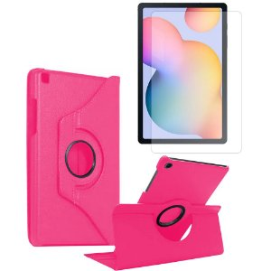 Kit Capa Giratória Pink + Película de Vidro Galaxy Tab S6 Lite 10.4' P610 P615 - Armyshield