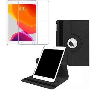 Capa Giratória Preta + Película de Vidro Blindada iPad 7/8 Modelo 2019/2020 10.2 - Armyshield