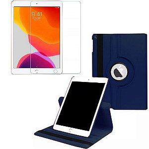 Capa Giratória Azul Marinho + Película de Vidro Blindada iPad 7/8 Modelo 2019/2020 10.2 - Armyshield
