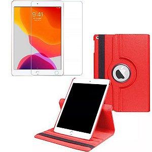 Capa Giratória Vermelha + Película de Vidro Blindada iPad 7/8 Modelo 2019/2020 10.2 - Armyshield