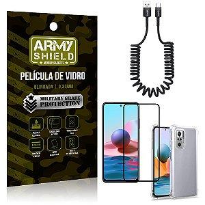 Cabo Espiral Redmi Note 10 + Capinha Anti Impacto + Película 3D - Armyshield