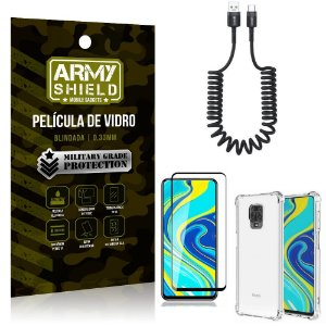 Cabo Espiral Redmi Note 9S + Capinha Anti Impacto + Película 3D - Armyshield