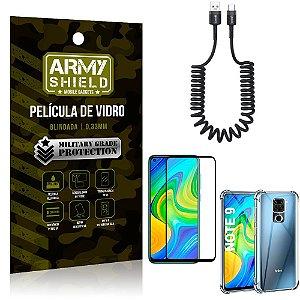 Cabo Espiral Redmi Note 9 + Capinha Anti Impacto + Película 3D - Armyshield