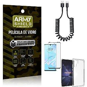 Cabo Espiral Huawei P30 Pro + Capinha Anti Impacto + Película 3D - Armyshield
