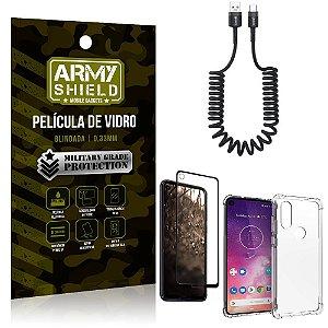 Cabo Espiral Moto One Vision + Capinha Anti Impacto + Película 3D - Armyshield