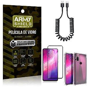 Cabo Espiral Moto One Hyper + Capinha Anti Impacto + Película 3D - Armyshield