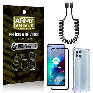 Cabo Espiral Moto G100 + Capinha Anti Impacto + Película 3D - Armyshield