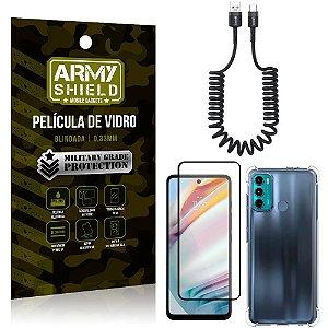Cabo Espiral Moto G60 + Capinha Anti Impacto + Película 3D - Armyshield