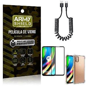Cabo Espiral Moto G9 Plus + Capinha Anti Impacto + Película 3D - Armyshield