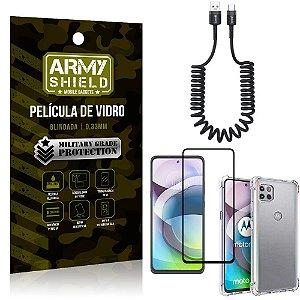 Cabo Espiral Moto G 5G + Capinha Anti Impacto + Película 3D - Armyshield